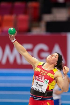 ruiz: GOTHENBURG, SWEDEN - MARCH 3 Ursula Ruiz (Spain) places 8th in the womens shot put finals during the European Athletics Indoor Championship on March 3, 2013 in Gothenburg, Sweden.