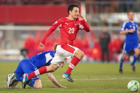 qualifier: VIENNA,  AUSTRIA - MARCH 22 Philipp Hosiner (#20 Austria) runs with the ball during the world cup qualifier game on March 22, 2013 in Vienna, Austria.