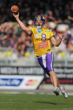 afl: VIENNA,  AUSTRIA - APRIL 21 QB Christoph Gross (#8 Vikings) throws the ball during the AFL football game on April 21, 2013 in Vienna, Austria. Editorial