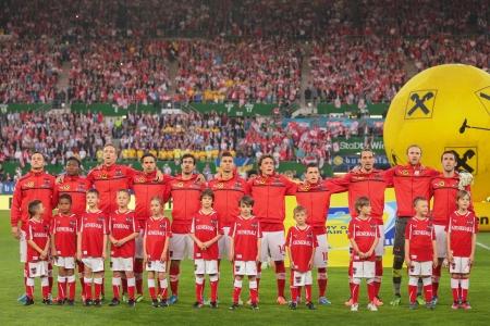 VIENNA,  AUSTRIA - JUNE  7 The Austrian team poses before the world cup qualifier game on June 7, 2013 in Vienna, Austria.