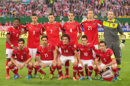 qualifier: VIENNA,  AUSTRIA - JUNE  7 The Austrian team poses before the world cup qualifier game on June 7, 2013 in Vienna, Austria. Editorial