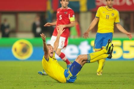 qualifier: VIENNA,  AUSTRIA - JUNE  7 Andreas Granqvist (#4 Sweden) complains about a foul during the world cup qualifier game on June 7, 2013 in Vienna, Austria.