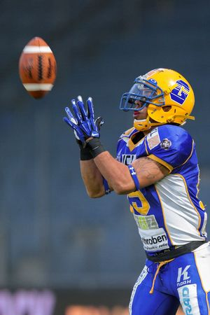 playoffs: GRAZ, AUSTRIA - JUNE 29 WR Armando Ponce de Leon (#15 Giants) catches the ball at the playoffs of the AFL on June 29, 2013 in Graz, Austria.