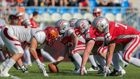 xvi: VIENNA, AUSTRIA - MAY 26, 2014: Team Austria face the Claremont McKenna Stags at the line of scrimmage.