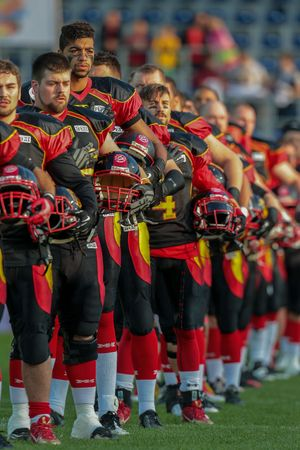 anthem: ST. POELTEN, AUSTRIA - JUNE 3, 2014: Team Germany during the national anthem before the game against Sweden.