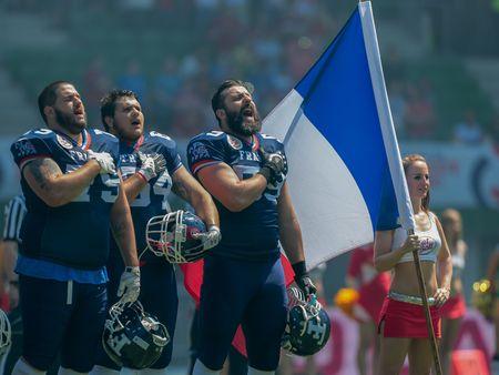 VIENA, Austria - 07 de junio 2014: el equipo de Francia durante el himno nacional antes del partido contra Finlandia. Editorial