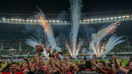 finals: VIENNA, AUSTRIA - JUNE 7, 2014: Team Germany celebrate their win over Austria in the finals.