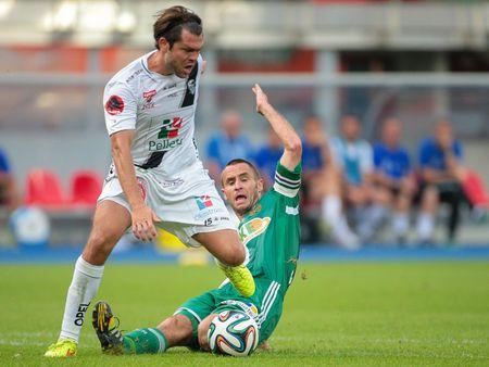 camaraderie: VIENNA, AUSTRIA - SEPTEMBER 20, 2014: Nemanja Rnic (#15 Wolfsberg) and Steffen Hofmann (#11 Rapid) fight for the ball in an Austrian soccer league game.