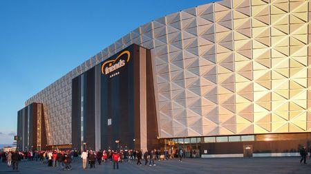 qualification: STOCKHOLM, SWEDEN - SEPTEMBER 8, 2015: Fans enter the Friends Arena in Stockholm before an European Championship qualification game. Editorial