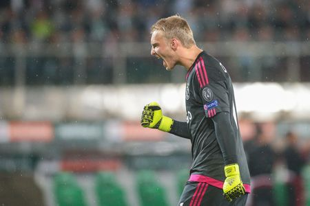 teammates: VIENNA, AUSTRIA - JULY 29, 2015: Jasper Cillessen (Ajax) yells at his teammates in an UEFA Champions League qualification game. Editorial