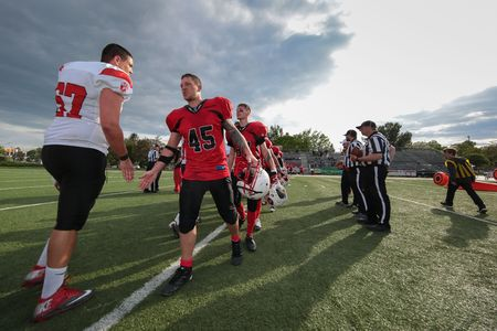 warlords: VIENNA, AUSTRIA - MAY 9, 2015: Players shake hands after  a game of the Division II of the Austrian Football League.
