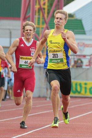 KAPFENBERG, AUSTRIA - AUGUST 8, 2015: Mario Gebhardt (#203 Austria) participates in the national track and field championship.