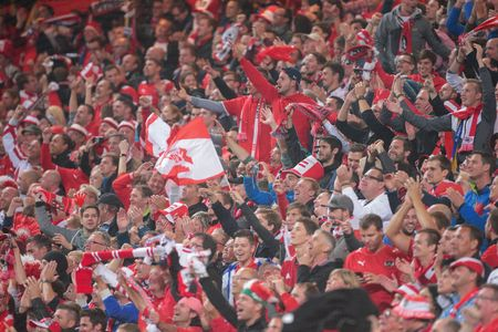 european championship: STOCKHOLM, SWEDEN - SEPTEMBER 8, 2015: Austrian fans celebrate the victory after an European Championship qualification game.