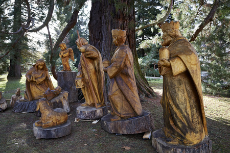 carved wooden crib giant figures christmas outdoor