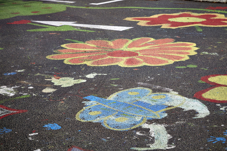 colorful street painting flowers on chalk street