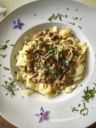 fresh mushroom noodles food meal