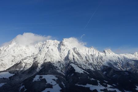winter mountains scenic view beautiful sky panorama
