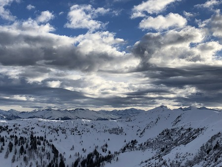 winter landscape snowy mountains cloudy sky panorama