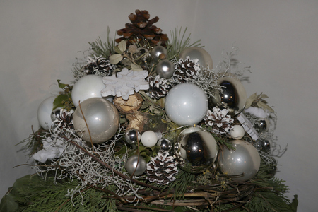 beautiful christmas decoration decorative silver arrangement balls
