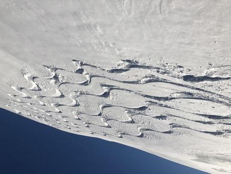 skiing snow winter sport ski tracks traces curves