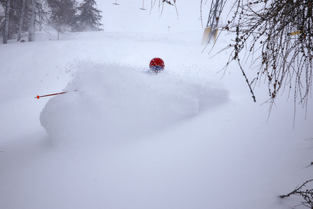 deep snow skiing fun action winter ski extreme absorbed