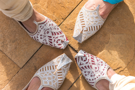 Traditional Indian shoes. Stock Photo