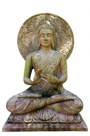 白い背景の分離上の仏像。