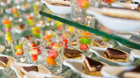 plating: Desserts, The colorful plating and blueberry cake served on a party.