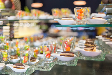 plating: Desserts, The colorful plating and chocklate cake served on a party.