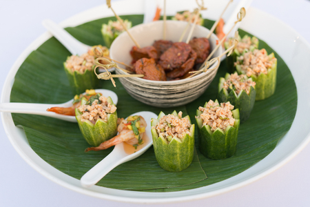 fresh food fish cake: Delicious appetizer served in party.