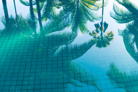 Reflection of coconut trees and sugar plam tree in turquoise color swimming pool