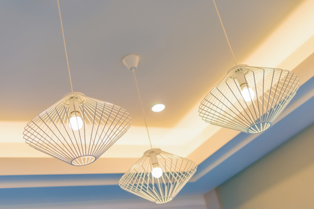 idea light bulb: Ceiling lamps for interior decoration Stock Photo