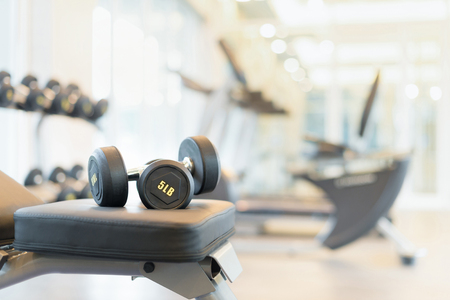 equipment: Two dumbbells on the exercise bench. Gym equipment.
