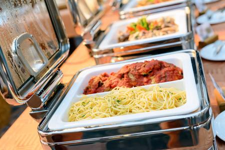 line lines luxury meeting: catering food in restaurant, luxury hotel. Stock Photo