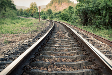 railroad tracks: vintage curve railroad tracks Stock Photo