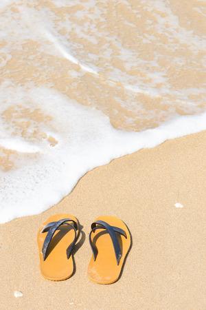 Tropical Urlaub Konzept - Flipflops auf einem sandigen Strand Standard-Bild - 60274632