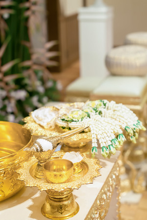 Setup for hand pouring in Thai wedding ceremony.