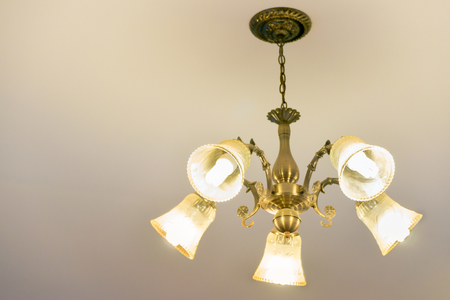 Ceiling lamp for interior decoration, old style celling lamp, copy space. Stock Photo