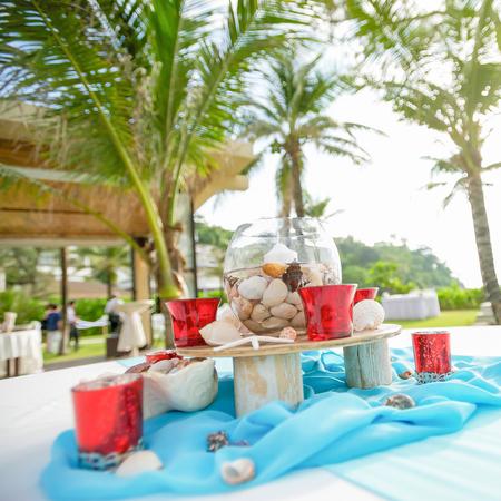 seaside beach wedding decorations and arrangement.