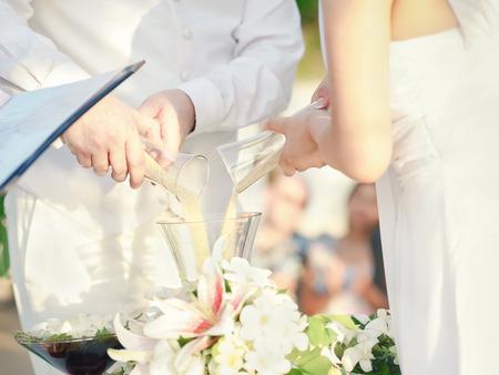 wedding sand ceremony. vintage color process.