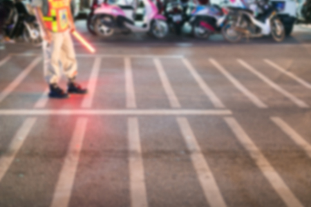the traffic movement police: Close up blurry urban traffic at night, copy space. Stock Photo