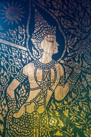 Traditionelle Thai-Stil, Kunst, Malerei auf Tempel Tür (Ramayana Geschichte) in der Öffentlichkeit Tempel. Standard-Bild - 62466829
