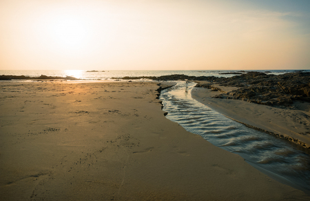 Seascape, vintage beach sunset and surrounding. copy space.