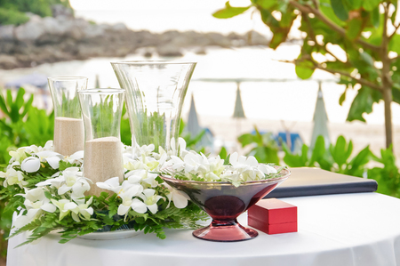 wedding decorations and arrangement, flowers, wedding sand ceremony. selective focus. Stock Photo