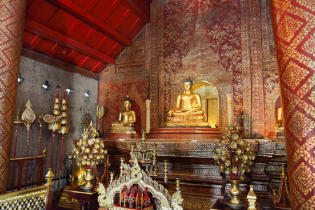 hing: CHIANG MAI, THAILAND - October 8, 2015 : Wat Phra Sing temple Chiang Mai Province. Phra Buddha Si Hing, a famous Buddha image in Thailand Buddhist temple in the old city of Chiang Mai, Thailand.