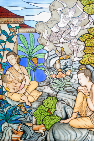 Prachuap Khiri Khan, Thailand: March 31, 2015 - Stained glass image is the story of Mahajanaka at Tangsai Thai Temple In Prachuap Khiri Khan, Thailand. Editorial