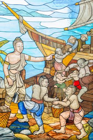 Prachuap Khiri Khan, Thailand: March 31, 2015 - Stained glass image is the story of Mahajanaka at Tangsai Thai Temple In Prachuap Khiri Khan, Thailand. 에디토리얼