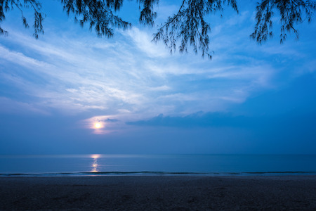 secluded: Beautiful secluded beach at night, Copy space. Stock Photo