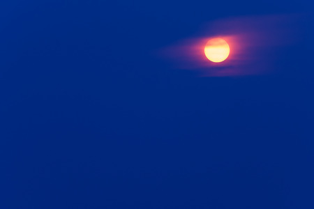 Brilliant yellow Sun on Blue Background Filter. Copy space.