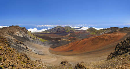 cinders: Panorama of the Haleakala volcano crater on Maui
